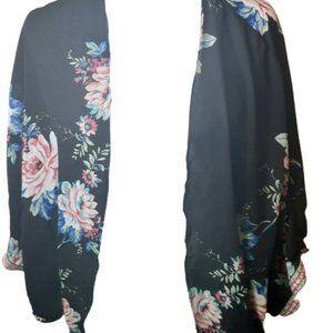 Meraki black floral embroidered kimono